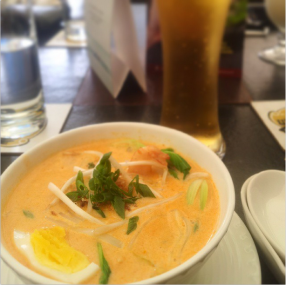 Curry laksa with chicken and prawns - Creamy coconut milk based soup with boiled eggs, prawns, noodles and shredded chicken @ SingKong, UB City